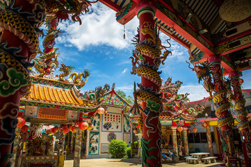 Oriental Chinese temple in bright colors