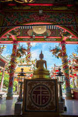 Chinese temple with Buddha at sunny day