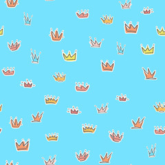 Repeated hand drawn crowns. Cute seamless pattern. Endless childish print. Vector ornament for wrapping paper, banners, flayers, cards and posters.