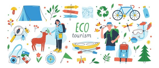 Ecotourism set. Collection of eco friendly tourism design elements isolated on white background - male and female tourists or ecologists, tent, backpack, kayak. Flat cartoon vector illustration. Fototapete