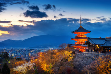 Spoed Fotobehang Kyoto Beautiful Kyoto city and temple at twilight, Japan.