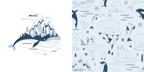 Magical childish pajamas graphics set with t-shirt print and accompanied tileable background. Big Blue Whale with Mountains on his back illustration. Polar Bear Walrus Penguin Narwal Seal Reindeer