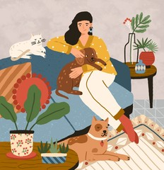 Cute smiling young girl sitting on comfy sofa with dogs and cat. Adorable woman spending time at home with her domestic animals. Portrait of happy pet owner. Flat cartoon vector illustration.