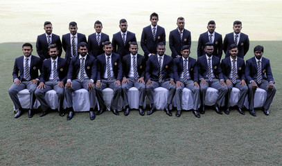 Sri Lankan cricket team members pose for a photograph ahead of the  ICC Cricket World Cup 2019, in Colombo