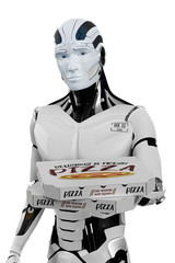 3D Illustration Roboter als Pizzalieferant weiß