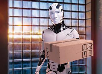 3D Illustration Roboter als Pizzalieferant