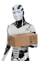 3D Illustration Roboter Paketdienst weiß