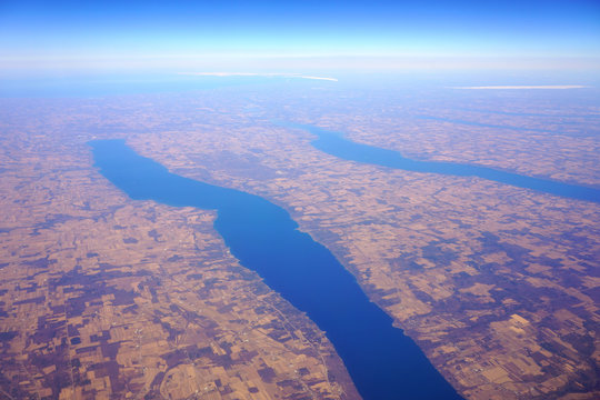 Aerial view of the Cayuga Lake and the Seneca Lake in upstate New York