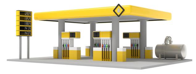 3D Illustration Tankstelle