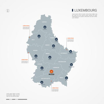Luxembourg map with borders, cities, capital and administrative divisions. Infographic vector map. Editable layers clearly labeled.