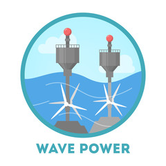 Wave power concept. Alternative energy for the environment