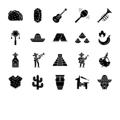 Mexican culture glyph icons set