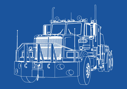 drawing isolated road truck vector on blue background