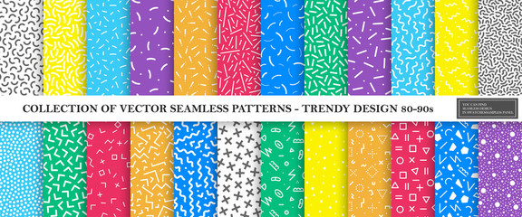Colorful vibrant vector collection of memphis seamless patterns. Fashion design 80-90s. Bright stylish textures. Fototapete