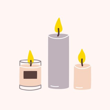 Burning wax or paraffin aromatic candles for aroma therapy isolated on light background. Cute hygge home decoration, holiday decorative design element. Flat cartoon colorful vector illustration.