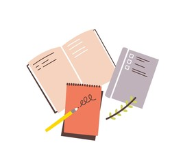 Obraz Notebooks, notepads, memo pads, planners, organizers for making writing notes and jotting isolated on white background. Decorative design elements. Colorful vector illustration in flat style. - fototapety do salonu