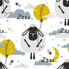 Sleeping sheeps, hand drawn backdrop. Colorful seamless pattern with animals, moon, stars. Decorative cute wallpaper, good for printing. Overlapping colored background vector. Design illustration