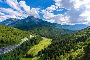 Suspension Bridge at Reutte between two hills in beautiful landscape Scenery of Alps, Tirol, Austria