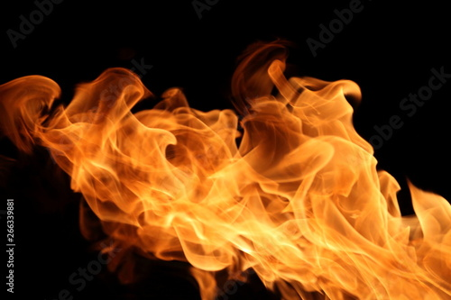 Fire Burning On Dark Background For Abstract Flame Texture