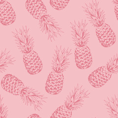 Pineapple seamless pattern, vector background with pineapples, food fruits background