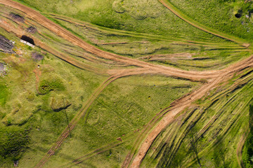 Aerial view of a countryside dirt road