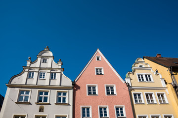 Wall Murals colorful gable houses against blue sky, in Donauworth, Germany