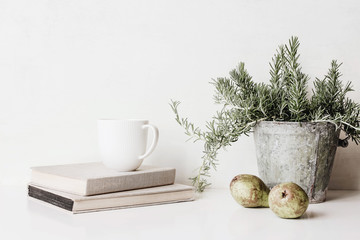 Vintage feminine still life scene. Composition of rosemary herb in old metal flower pot, books, cup of coffee and pears on white table. Rustic design. Home decor.