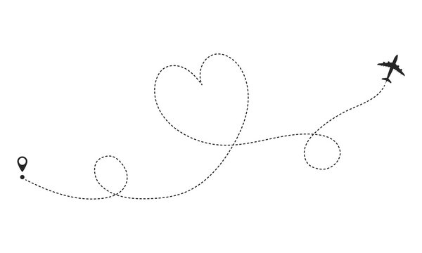Love airplane route. Romantic travel concept. Dotted line in the shape of a heart. Template design for web site, mobile app, poster, ad, print materials, cover.