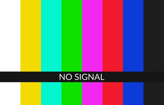 No signal tv background. Error on television screen. Pattern signal for test purposes. SMPTE color bars technical problems.