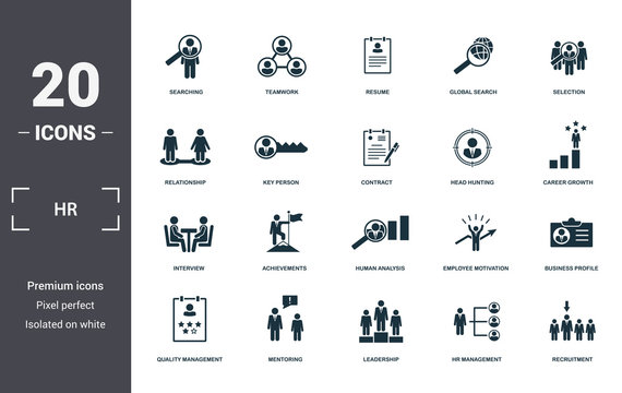Human Resources icons set collection. Includes simple elements such as Searching, Teamwork, Resume, Global Search, Selection, Achievements and Human Analysis premium icons