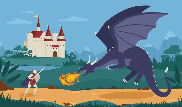 Brave knight or swordsman fighting with dragon against medieval castle on background. Legendary hero struggle against evil monster. Scene from fairytale or legend. Flat cartoon vector illustration.