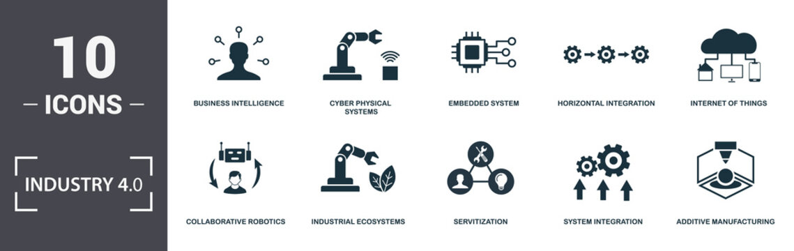 Industry 4.0 icons set collection. Includes simple elements such as Business Intelligence, Cyber Physical Systems, Embedded System, Horizontal Integration, Internet Of Things, Industrial Ecosystems