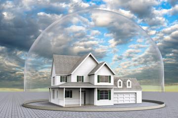 3D rendering og a house inside a dome