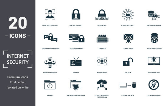 Internet Security icons set collection. Includes simple elements such as Face Recognition, Online Privacy, Password, Cyber Security, Data Encryption, Id Pass and Monitoring premium icons