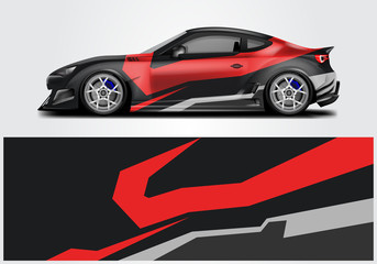 Car wrap livery decal vector , supercar, rally, drift . Graphic abstract stripe racing background . Eps 10
