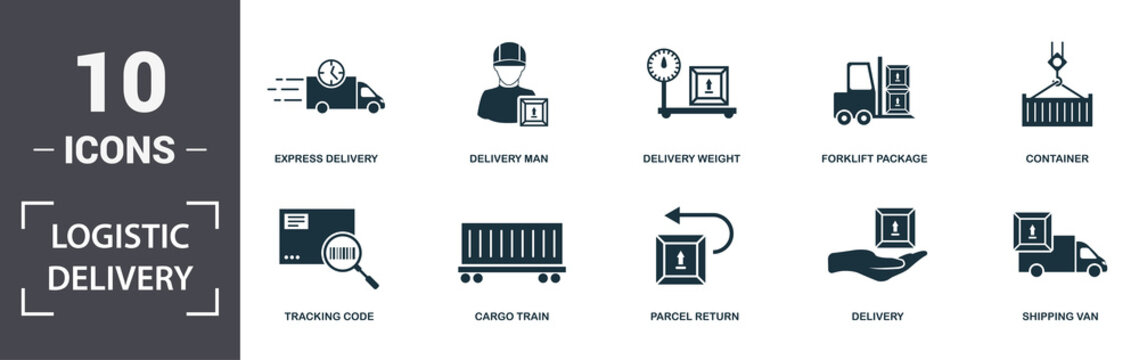 Logistics Delivery icons set collection. Includes simple elements such as Express Delivery, Delivery Man, Delivery Weight, Forklift Package, Container, Cargo Train and Parcel Return premium icons