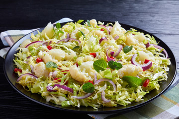 cauliflower salad with spring cabbage and mint