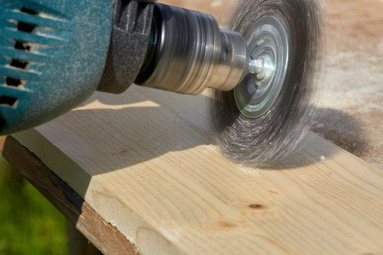Wood brushing machine. Woodworking.