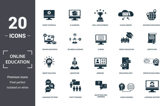 Online Education icons set collection. Includes simple elements such as Video Tutorials, E-Learning, Skill Development, Cloud Library, Distance Education, Adventure and Webinar premium icons