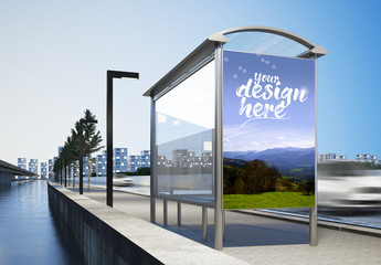 Bus Stop Advertising Poster Mockup