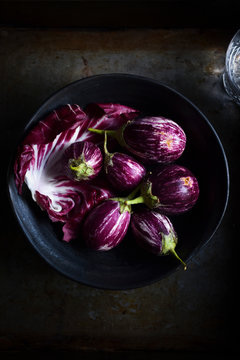 Mini striped eggplants