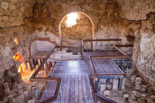 The ancient fortification Masada in  Israel. Masada National Park in the Dead Sea region of Israel.