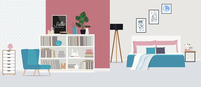 Blue armchair against the backdrop of a pink wall in a spacious, bright bedroom. Vector flat illustration.