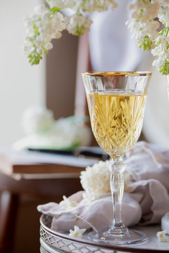 Honey Wine - White Wine with lilac backdrop.