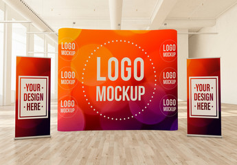 Curved Pop-Up Banner and 2 Roll-Up Banners in a Light Interior Mockup