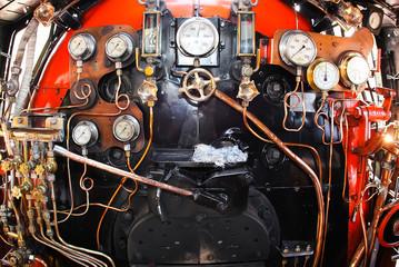 inside old steam train engine room