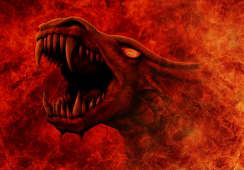 Dragon with snarling mouth comes out of a raging fire