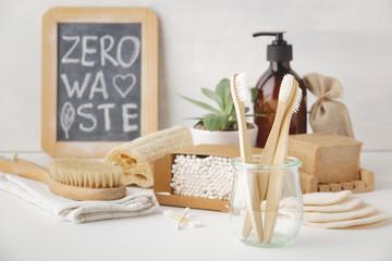 Zero waste concept. Eco-friendly bathroom accessories, copyspace Wall mural