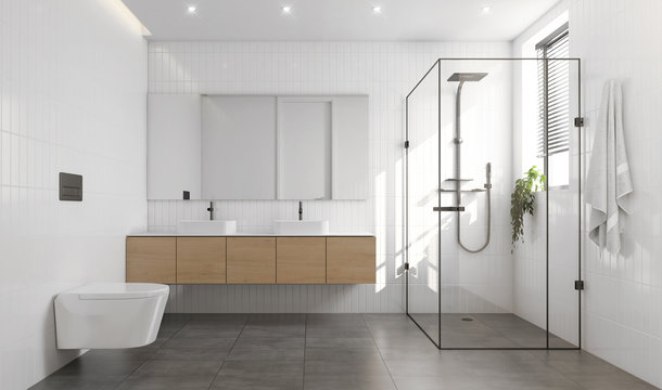 3d rendering of a white and grey contemporary modern bathroom