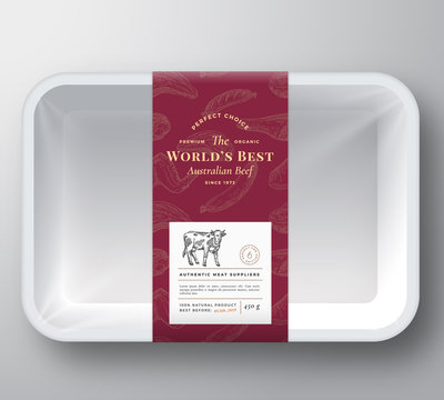 Worlds Best Beef Abstract Vector Plastic Tray Container Cover. Premium Meat Packaging Design Label Layout. Hand Drawn Cow, Steak, Sausage, Wings and Legs Sketch Pattern Background.